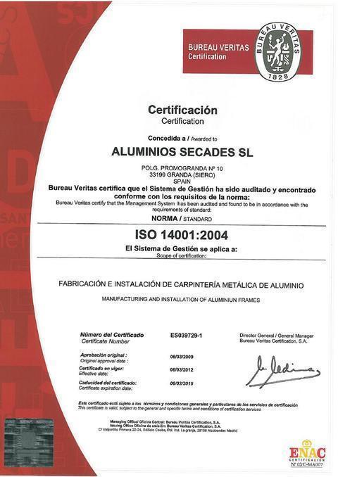 Aluminios Secades -  Certificado ISO 14001/2004 - Aluminios Secades - Asturias - Ventanas de Aluminio