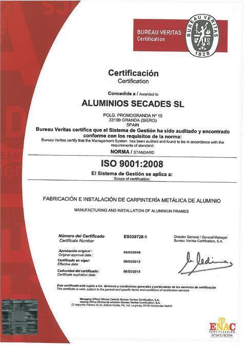 Aluminios Secades -  Certificado ISO 9001/2008 - Aluminios Secades - Asturias - Ventanas de Aluminio